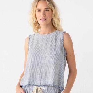 Thread & Supply linen striped blue white top